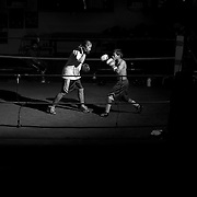 """4/27/12 7:36:20 PM --- LA HABRA BOXING CLUB SPORTS SHOOTER ACADEMY 009 -- La Habra, California. Alex """"The Future"""" Gonzalez (right), 13, trains with Nadja Ropac Friday afternoon at La Habra Boxing Cllub. Photo by Swikar Patel, Sports Shooter Academy"""