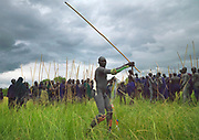 STICK FIGHTING DAY IN SURI TRIBE - ETHIOPIA<br /> <br /> Donga stick fights take place after the harvests, the Surmas count days owing to knots on a long stem of grass or jags on the trunk of a tree dedicated to that specific use. Each knot or jag representing a single day, it means that if the bark of the tree is cut with 8 jags for example, the Donga will take on the 8th day of the month.<br /> <br />  Before a Donga, some Suri drink the fresh blood of their cattle during the Blood meal ritual. It consists in making a small incision in the cow's carotid artery with a special sharp arrow in order ro make it bleed almost two liters of its bloodThe warrior has got to drink the entire content in one as blood coagulates quickly. Sometimes warriors do not manage to drink all of the blood contained in the calabash in one mouthful, and vomit all the blood they swallowed .Surma believe the cow's blood is full of vitamins that enable warriors to be fit.<br /> <br /> The warriors stop when crossing a river in order to wash themselves, before decorating their bodies for the fight. They decorate themselves by sliding the fingers full of clay on the warrior's bodies. This dressing up and decoration is meant to show their beauty and virility and thus catch the women's attention.<br /> Body paintings are also especially made during the long periods spent in the camps where the cattle is kept by young men and women. These camps are located far away from the village and the pratice of body painting is an informal and play event seen as an expression of liberty and independance for these young people. Body paintings unfortunately show the increasing impact of foreign tourists. Suri people have developed and created new body paintings as well as new dress codes in order to attract tourists. They have understood that foreigners would be more eager to take pictures from them with such decoratives paintings and ornaments, and to pay for it. A few years ago, Suri boys started to disguise by wearing flower headdresses, wh