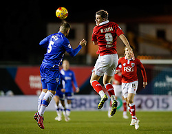 Max Ehmer of Gillingham and Matt Smith of Bristol City compete in the air - Photo mandatory by-line: Rogan Thomson/JMP - 07966 386802 - 29/01/2015 - SPORT - FOOTBALL - Bristol, England - Ashton Gate Stadium - Bristol City v Gillingham - Johnstone's Paint Trophy Southern Area Final Second Leg.
