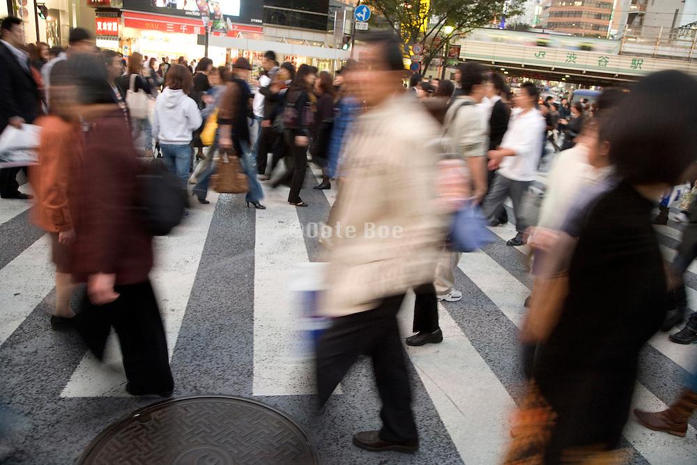crowd at the pedestrian crossing Hachiko square Shibuya Japan Tokyo