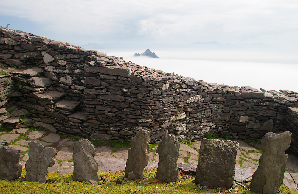 Cemetery at the hermitage atop Skellig Michael; Little Skellig in background; County Kerry, Ireland
