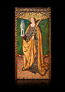 Gothic Aaltarpiece of Saint Barbara, 3rd quarter of the 15th century, tempera and gold leaf on for wood.  National Museum of Catalan Art, Barcelona, Spain, inv no: MNAC   114746-7. Against a black background. . .<br /> <br /> If you prefer you can also buy from our ALAMY PHOTO LIBRARY  Collection visit : https://www.alamy.com/portfolio/paul-williams-funkystock/gothic-art-antiquities.html  Type -     MANAC    - into the LOWER SEARCH WITHIN GALLERY box. Refine search by adding background colour, place, museum etc<br /> <br /> Visit our MEDIEVAL GOTHIC ART PHOTO COLLECTIONS for more   photos  to download or buy as prints https://funkystock.photoshelter.com/gallery-collection/Medieval-Gothic-Art-Antiquities-Historic-Sites-Pictures-Images-of/C0000gZ8POl_DCqE