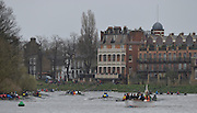 Putney. London,  General View looking down the course at the White Hart PH. 2015  Head of the River Race. Championship Course Putney to Mortlake.  ENGLAND. <br /> <br /> Sunday   29/03/2015<br /> <br /> [Mandatory Credit; Intersport-images]