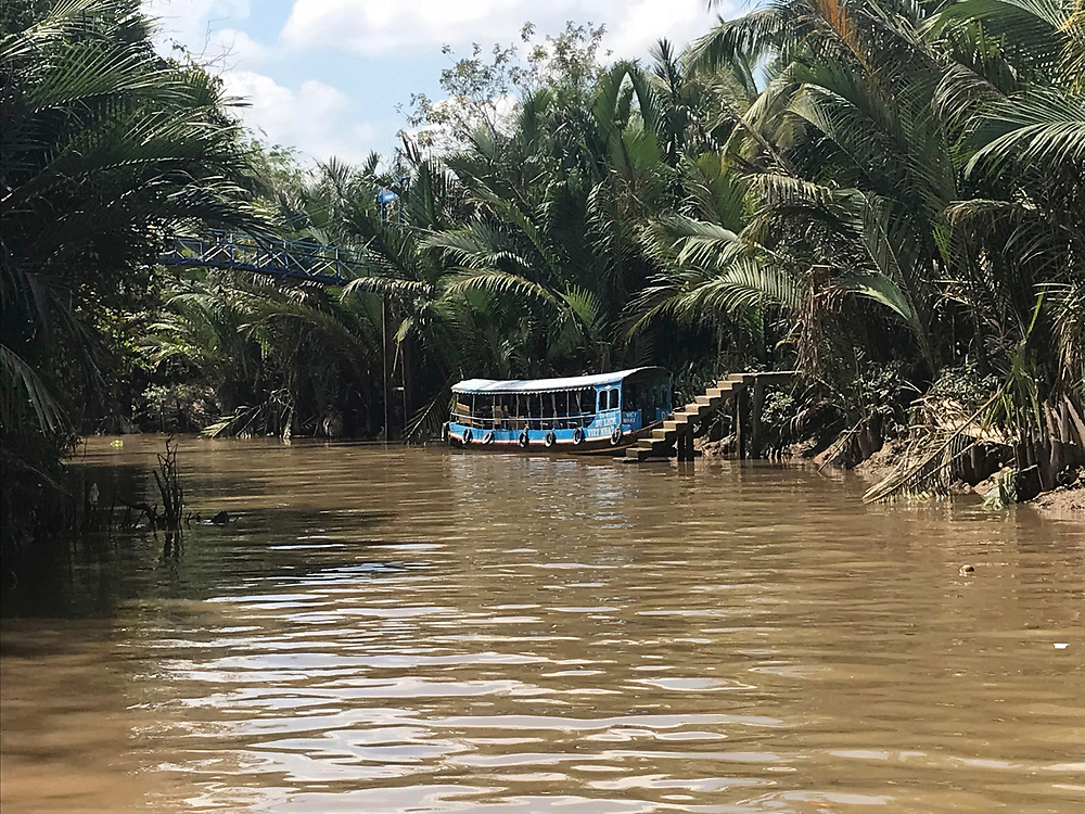 Muddy tropical waters surrounded by lush mangroves. Traditional boat in the canal of the Mekong River Delta in Vietnam.