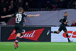 Myron Boadu #9 of AZ Alkmaar scores during the Dutch Eredivisie match round 25 between Ajax Amsterdam and AZ Alkmaar at the Johan Cruijff Arena on March 01, 2020 in Amsterdam, Netherlands
