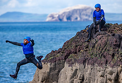18MAY21 Stevie Boyle jumps. Matt out with Mollie Hughes and Stevie Boyle, Coasteering with Ocean Vertical at Dunbar.