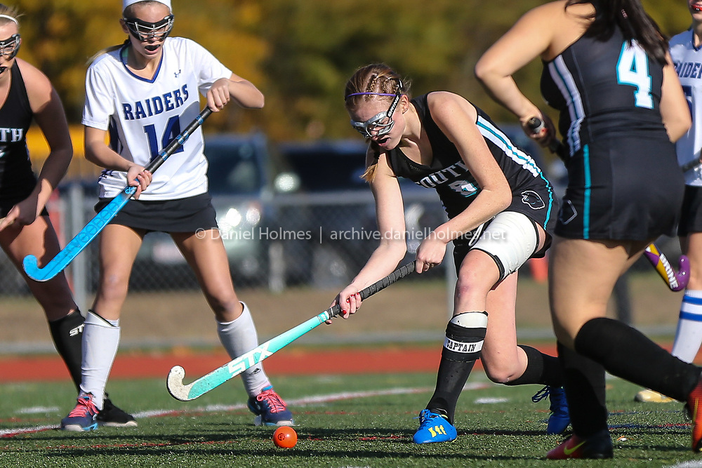 (10/31/18, DOVER, MA) Plymouth's Jordan Colbert clears the ball during the preliminary round of the Division 2 South playoffs against Dover-Sherborn at Dover-Sherborn High School in Dover on Wednesday. [Daily News and Wicked Local Photo/Dan Holmes]