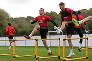 Sam Vokes of Wales (l) and David Edwards of Wales ® during the Wales football team training at the Vale Resort, Hensol , South Wales on Monday 2nd October 2017, the team are preparing for their FIFA World Cup qualifier away to Georgia this week. pic by Andrew Orchard, Andrew Orchard sports photography