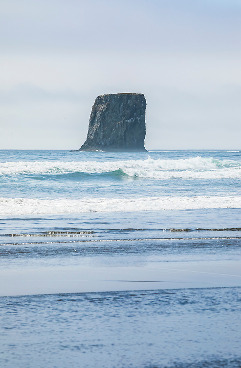 Sea stack rocks offshore at 2nd Beach in the Olympic National Park Coastal Strip, Washington State coast, USA.