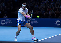 Tennis - 2019 Nitto ATP Finals at The O2 - Day Two<br /> <br /> Singles Group Andre Agassi: Rafael Nadal (Spain) Vs. Alexander Zverev (Germany)<br /> <br /> Rafael Nadal (Spain) grimaces as he hits the backhand <br /> <br /> COLORSPORT/DANIEL BEARHAM<br /> <br /> COLORSPORT/DANIEL BEARHAM