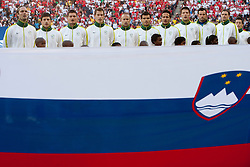 Players of Slovenia: Marko Suler of Slovenia, Bojan Jokic of Slovenia, Andraz Kirm of Slovenia, Valter Birsa of Slovenia, Miso Brecko of Slovenia, Aleksander Radosavljevic of Slovenia, Zlatan Ljubijankic of Slovenia, Bostjan Cesar of Slovenia, Goalkeeper of Slovenia Samir Handanovic, Milivoje Novakovic of Slovenia and Robert Koren of Slovenia singing national anthem during the 2010 FIFA World Cup South Africa Group C Third Round match between Slovenia and England on June 23, 2010 at Nelson Mandela Bay Stadium, Port Elizabeth, South Africa. England defeated Slovenia 1-0 and qualified for the next round, Slovenia not. (Photo by Vid Ponikvar / Sportida)