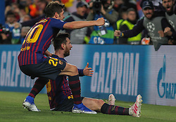 May 1, 2019 - Barcelona, Barcelona, Spain - Messi and Sergi Roberto of Barcelona celebrating a goal during UEFA Champions League football match, between Barcelona and Liverpool, May 01th, in Camp Nou stadium in Barcelona, Spain. (Credit Image: © AFP7 via ZUMA Wire)