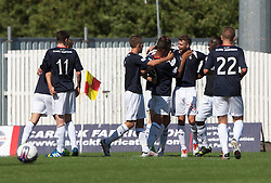 Falkirk's Rory Loy celebrates with team mates after scoring their second goal.<br /> Falkirk 3 v 1 Morton, Scottish Championship 17/8/2013.<br /> ©Michael Schofield.