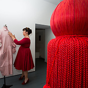 """18.05.2018.          <br /> More than 500 people attended the flagship event of the inaugural Unwrap LSAD Fashion Festival in Limerick.<br /> <br /> Graduate Ailish Allen, Athlone with her design, Heffalumps and Woozles.<br /> <br /> The Limerick School of Art & Design, LIT, Fashion Design Graduate Exhibition and launch of the """"The Fashion Film"""" at Limerick City Gallery of Art, in partnership with EVA International, attracted hundreds of people from the world of fashion. <br /> <br /> A total of 27 fashion graduates presented their designs alongside the specially commissioned film by fashion stylist and creative director Kieran Kilgallon and videographer Albert Hooi. Picture: Alan Place"""