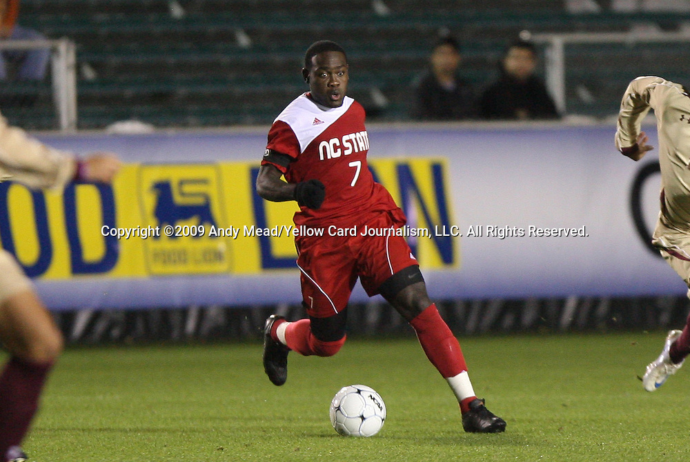 13 November 2009: NC State's Ronnie Bouemboue. The North Carolina State University Wolfpack defeated the Boston College Eagles 1-0 at WakeMed Stadium in Cary, North Carolina in an Atlantic Coast Conference Men's Soccer Tournament Semifinal game.