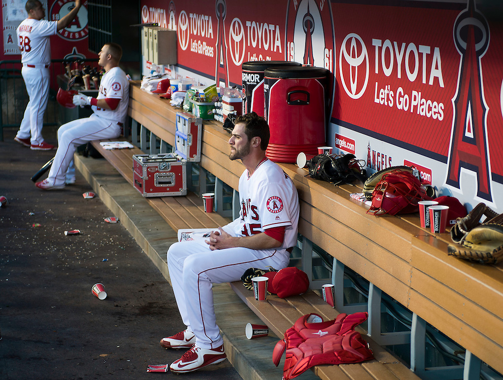 The Angels Nick Tropeano sits in the dugout in between inning against the Kansas City Royals Wednesday night at Angel Stadium.<br /> <br /> ///ADDITIONAL INFO:   <br /> <br /> angels.0428.kjs  ---  Photo by KEVIN SULLIVAN / Orange County Register  --  4/27/16<br /> <br /> The Los Angeles Angels take on the Kansas City Royals Wednesday at Angel Stadium.<br /> <br /> <br />  4/27/16
