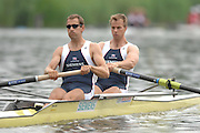 Amsterdam, HOLLAND, GBR M2-, Bow, Jonno Devlin and Kieran WEST,  move away from the start,  at the 2007 FISA World Cup Rd 2 at the Bosbaan Regatta Rowing Course.22/06/2007 [Mandatory Credit: Peter Spurrier/Intersport-images]..... , Rowing Course: Bosbaan Rowing Course, Amsterdam, NETHERLANDS