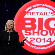 IBM Chairman and CEO Ginni Rometty delivers an address on how changing customer expectations and major technology shifts such as Big Data and cloud computing are reshaping commerce at the National Retail Federation's 103rd Annual Convention & Expo at the Jacob K. Javits Convention Center in New York City on Monday, January 13, 2014. (Feature Photo Service)