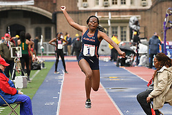 April 27, 2018 - Philadelphia, Pennsylvania, U.S - JAKAYLA HAND, of Auburn University, in action in the CW triple jump championship at the 124th running of the Penn Relays at Franklin Field in Philadelphia PA (Credit Image: © Ricky Fitchett via ZUMA Wire)