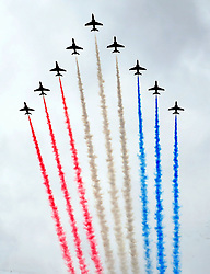 Red Arrows perform during the ninth annual Armed Forces Day in Liverpool.