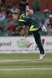 © Licensed to London News Pictures. 08/03/2012. Adelaide Oval, Australia. Australian off spinner Xavier Doherty bowls during the One Day International cricket match final between Australia Vs Sri Lanka. Photo credit : Asanka Brendon Ratnayake/LNP