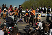 Protesters on Waterloo Bridge, blocking the traffic in peaceful demonstration asking for the Government to act on climate change. Several roads were blocked across four sites in central London, by the Extinction Rebellion climate change protests, April 2019.