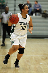 25 November 2014:  Gabrielle Holness during an NCAA women's division 3 CCIW basketball game between the Wisconsin Whitewater Warhawks and the Illinois Wesleyan Titans in Shirk Center, Bloomington IL