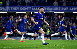 Chelsea's Mateo Kovacic (centre) celebrates after his team win the penalty shoot out at the end of the UEFA Europa League, Semi Final, Second Leg at Stamford Bridge, London.