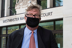 "© Licensed to London News Pictures. 28/09/2020. London, UK. Hedge fund manager Crispin Odey departs Westminster Magistrates Court after denying indecently assaulting a woman more than 20 years ago. The Tory donor, 61, was charged on 14 May this year over an alleged incident at an address in Chelsea, west London, in 1998. The Metropolitan police said Odey is alleged to have indecently assaulted ""a woman over 16 years of age"" on or around 13 July 1998 at an address in Swan Walk, Chelsea. The influential financier and founder of Odey Asset Management was a high-profile backer of the Brexit campaign, who donated more than £870,000 to pro-leave groups.  Photo credit: George Cracknell Wright/LNP"