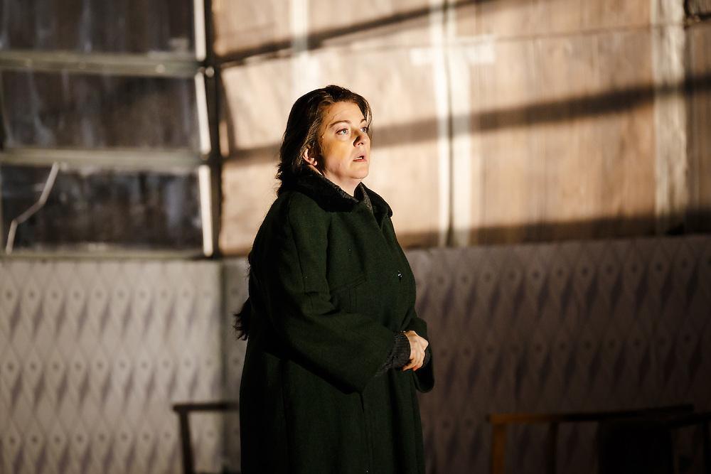 "LONDON, UK, 21 June, 2016. Michaela Martens (as Kostelnicka Buryja) rehearses for the revival of director David Alden's production of Janacek's opera ""Jenufa"" at the London Coliseum for the English National Opera. The production opens on 23 June. Photo credit: Scott Rylander."