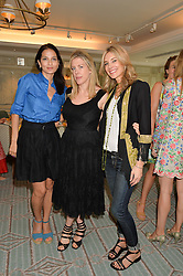 Left to right, YASMIN MILLS, FIONA LEAHY and KIM HERSOV at a breakfast hosted by Halcyon Days at Fortnum & Mason, 181 Piccadilly, London on 8th July 2014.