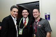 2/3/13 New Orleans LA.-NFL The San Francisco 49er's CEO Jed York, center, poses withYoungstown Ohio businessman Bruce Zoldan and Jed's high school friend Brian Brooke, who was the captain of Cardinal Mooney High school football team when Jed was there, outside his box before the start of Super Bowl XLV11 at the Mercedes Benz Super Dome. The Francisco 49er's take on the Baltimore Ravens Sunday Feb. 3, 2013Photo©Suzi Altman