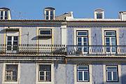 Ceramic tiles facade at Chiado district in Lisbon.