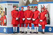 Doggett's men in traditional dress pose for a photograph at the launch of the Doggett's Coat And Badge Race Exhibition, with archives that reveal the previously secretive, traditional world of the Thames watermen, held in the Guildhall Yard in the City of London, England on September 10, 2018. The boat race for Doggett's Coat and Badge is the world's oldest continually completed sporting event dating back to 1715.