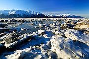 Turnagain Arm and Kenai Mountains, Kenai Peninsula, Alaska, USA