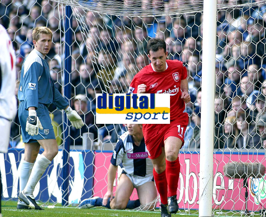Photo: Dave Linney.<br />West Bromwich Albion v Liverpool. The Barclays Premiership. 01/04/2006. Liverpool's Robbie Fowler makes it 1-0