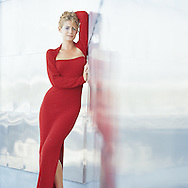 We photographed Zoe at the Fishing Hall of Fame in Fort Lauderdale wearing a tight red dress, that reflects in the stainless steel walls.