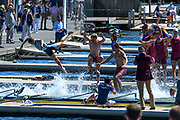"""Henley on Thames, United Kingdom, 8th July 2018, Sunday, """"The Ladies Challenge Plate"""", Oxford Brookes winning and Celebrating, the Final, """"Fifth day"""", of the annual,  """"Henley Royal Regatta"""", Henley Reach, River Thames, Thames Valley, England, © Peter SPURRIER,"""