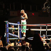 Omotunde Tabiti celebrates his win against Douglas Rosales during Showtime Televisions ShoBox:The Next Generation boxing match at the Event Center at Turning Stone Resort Casino on Friday, February 28, 2014 in Verona, New York.  (AP Photo/Alex Menendez)