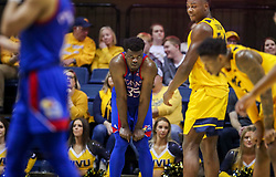 Feb 12, 2020; Morgantown, West Virginia, USA; Kansas Jayhawks center Udoka Azubuike (35) reacts late in the second half against the West Virginia Mountaineers at WVU Coliseum. Mandatory Credit: Ben Queen-USA TODAY Sports