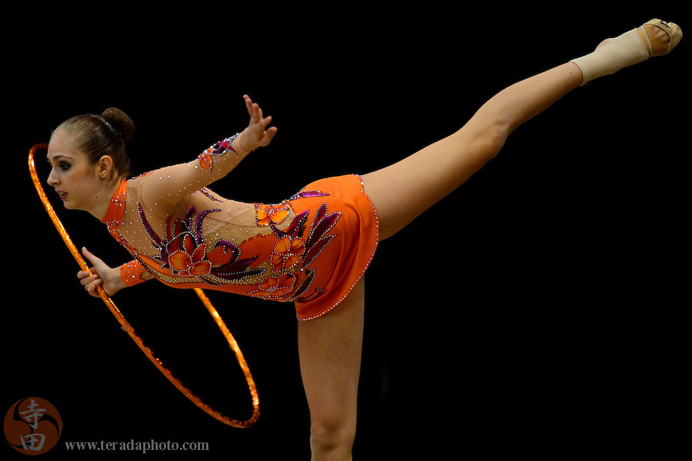 June 26, 2012; San Jose, CA, USA; Alexandra Jankulov performs with the hoop during the all-around prelims and event finals of the 2012 USA Gymnastics Championships for rhythmic gymnastics at San Jose Convention Center.