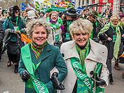 Mayor of London, Sadiq Khan, Grand Marshalls Gloria Hunniford & Imelda Staunton lead the London St Patrick's Day parade from Piccadilly to Trafalgar Square.