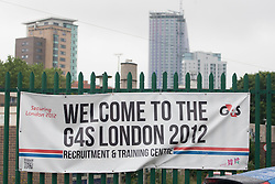 © licensed to London News Pictures. London, UK 14/07/2012. G4S Recruitment & Training Centre in Stratford this morning. Photo credit: Tolga Akmen/LNP