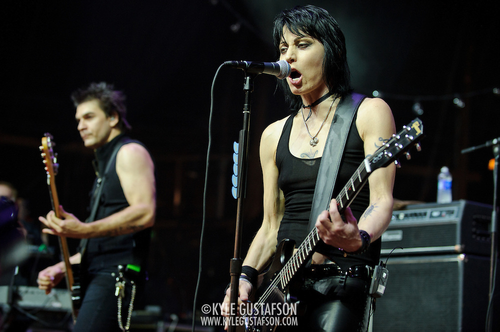 """COLUMBIA, MD - SEPTEMBER 25th, 2010:  Rock legend Joan Jett delighted the 2010 Virgin Mobile FreeFest crowd with a greatest hits set featuring """"Bad Reputation"""" and """"I Love Rock n Roll."""" (Photo by Kyle Gustafson/For The Washington Post)"""