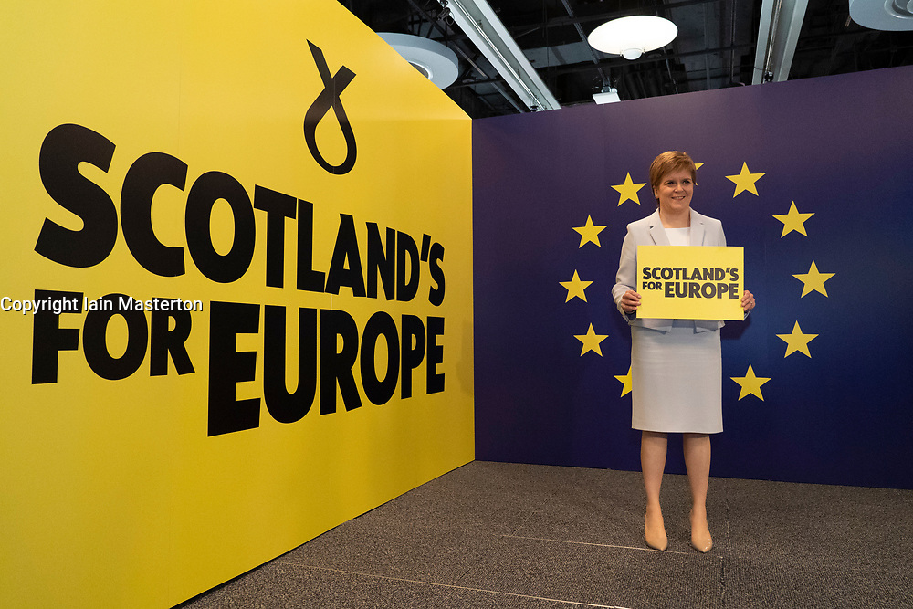 Edinburgh, Scotland, UK. 27 April, 2019. SNP ( Scottish National Party) Spring Conference takes place at the EICC ( Edinburgh International Conference Centre) in Edinburgh. Pictured; First Minister Nicola Sturgeon poses in front of European Union emblem