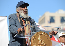 October 15, 2011 - Washington, DC, USA - Dick Gregory speaks at the D.C. Full Democracy Freedom Rally and March in Washington, D.C., on October 15, 2011. Gregory, a comedian, activist and author, died on Saturday, Aug. 19, 2017. (Credit Image: © Chuck Myers/TNS via ZUMA Wire)