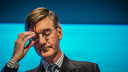 Pictured:  Leader of the House of Commons, Jacob Rees-Mogg  speaks  to delegates   on the first day at the Conservative Party Conference<br /> <br /> <br /> Giannis Alexopoulos | EEm 29/09/2019