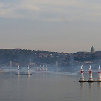 0708193890a Red Bull Air Race international air show qualifying runs over the river Danube, Budapest preceding the anniversary of Hungarian state foundation. Hungary. Sunday, 19. August 2007. ATTILA VOLGYI