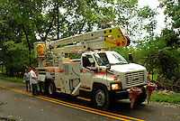 PSE&G Truck and Crew Getting Set Up oo Repair the Downed Power Line. Hurricane Irene. Image taken with a Leica X1 camera.