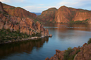 Canyon Lake and the Superstition Mountains along the Apache Trail, Tonto National Forest, East of Phoenix, Arizona.